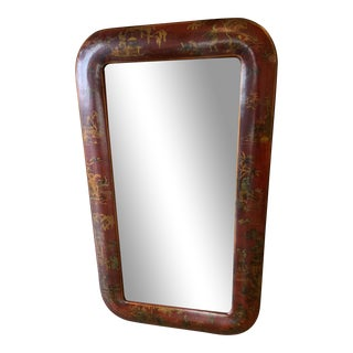Mid-Century Chinoiserie Red Framed Mirror For Sale