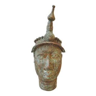 Benin Bronze Brass Head of Oba Nigeria