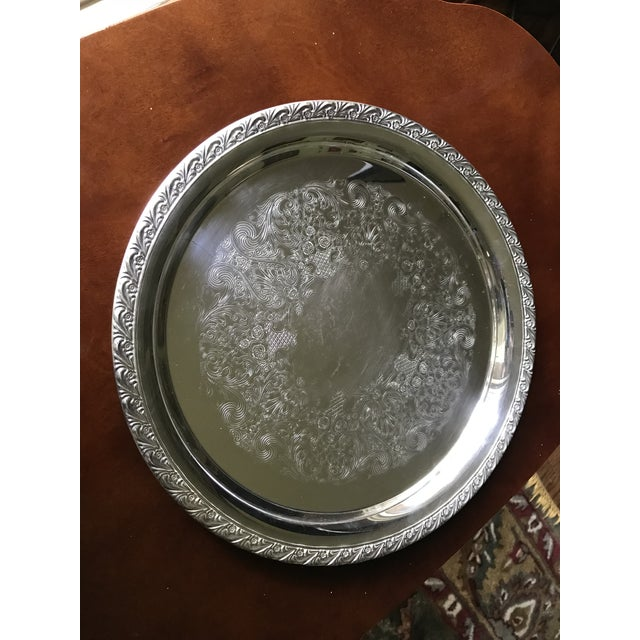Vintage WM Rogers Silver-Plate Round Tray For Sale - Image 13 of 13