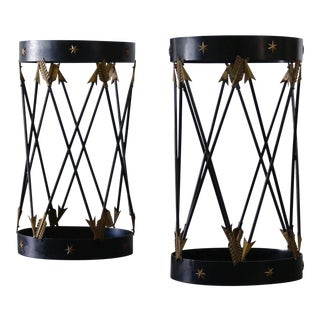 Pair of Mid-Century Decorative Side Tables W/ Glass Top For Sale