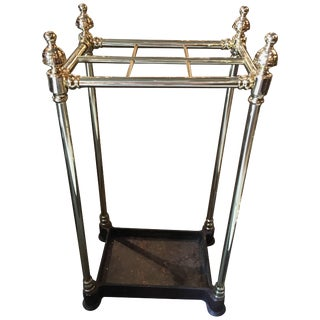 French Polished Brass and Iron Umbrella Stand, 19th Century For Sale