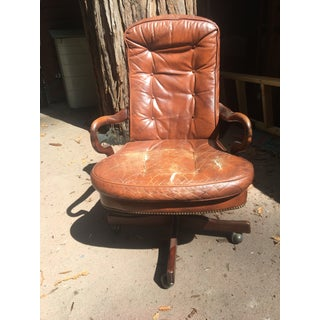 1980s Vintage Brown Leather Swivel Desk Chair Preview