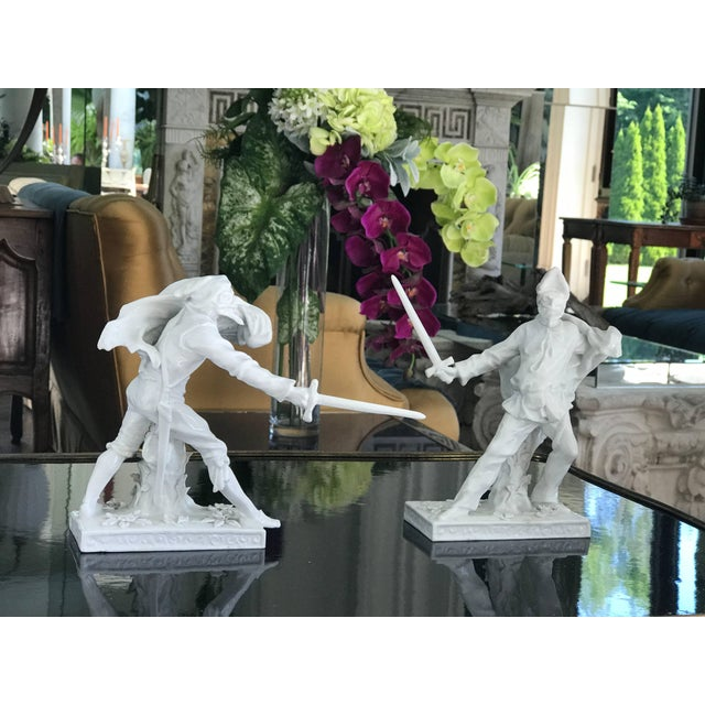 This exquisite pair of Blanc De Chin Figures of Venetian Fencers are full of Movement and Attitude. They have the...