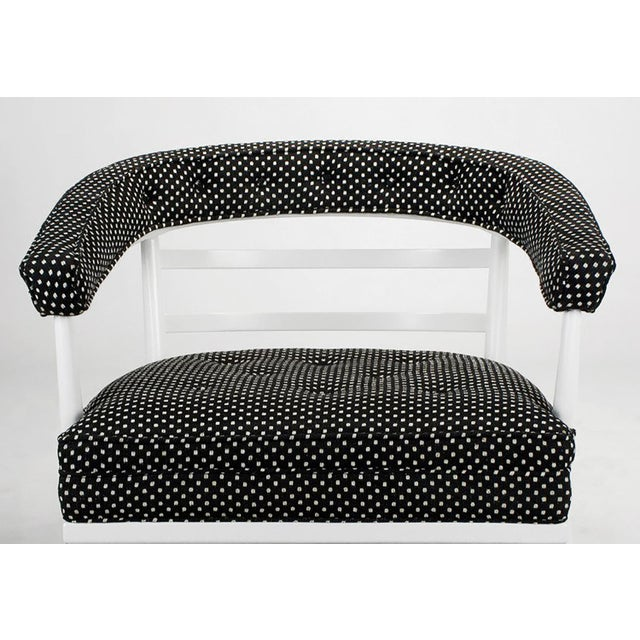 Cotton Four Bert England White Lacquer & Black Polka Dot Lounge Chairs For Sale - Image 7 of 9