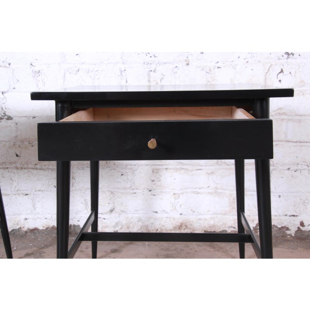 Black Paul McCobb Planner Group Nightstands or End Tables - a Pair For Sale - Image 8 of 12