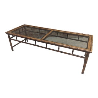 1970s Chippendae Style Faux Bamboo Long Coffee Table For Sale