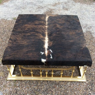 Vintage Mid Century Hollywood Regency Erwin Lambeth Custom Brass & Cowhide Ottoman Preview