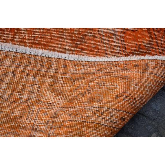 Turkish Rug Austin: Turkish Anatolian Oushak Orange Rug - 5′2″ × 8′7″