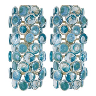 Brass Sconces With Blue Murano Glass Disks - a Pair For Sale