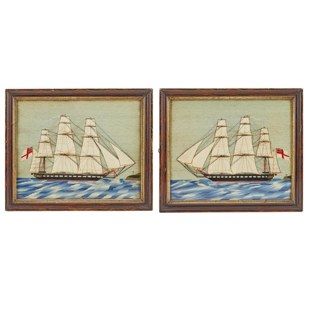 Pair of British Sailor's Woolworks Depicting a Royal Navy Ship Leaving and Arriving at the Same Port, Circa 1865-75 For Sale - Image 4 of 4