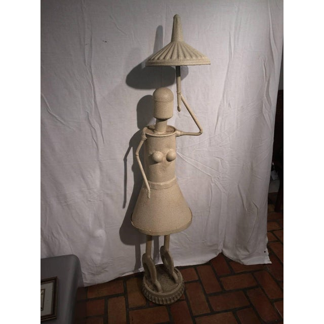 Industrial Woman With Umbrella Sculpture For Sale - Image 10 of 11