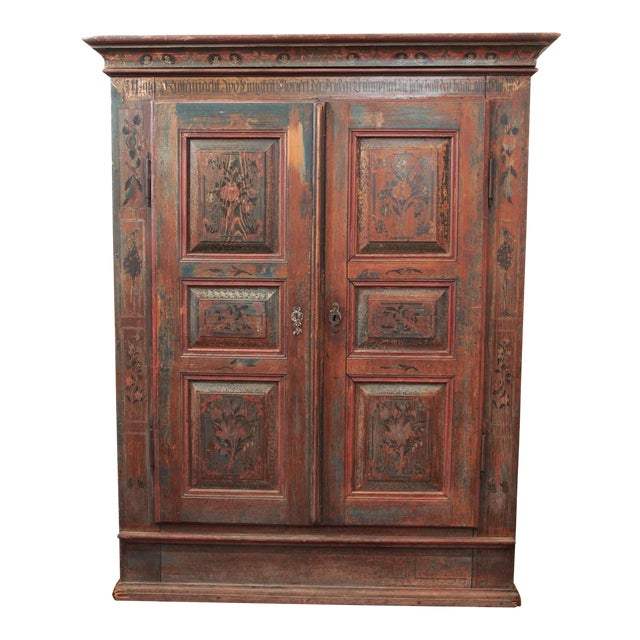 A PAINTED EUROPEAN ARMOIRE For Sale