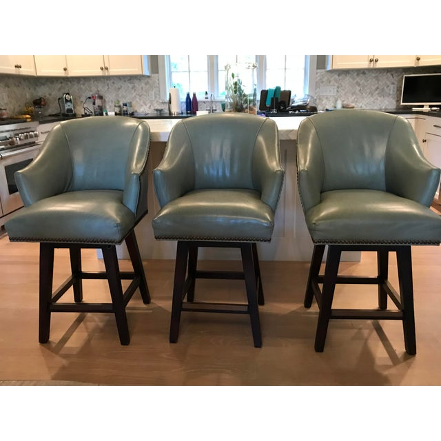 Lee Industries Leather Swivel Counter Stools - Set of 3 For Sale - Image 9 of 9