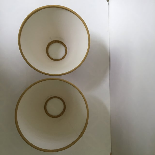1990s Vintage Gold Bees & Honeycomb Lamp Shades - A Pair For Sale - Image 6 of 8