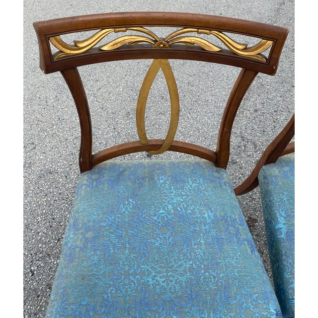 Baker Furniture Company Late 20th Century Baker Furniture Curved Italian Gold Leaf Regency Dining Chairs, Set of Six For Sale - Image 4 of 13
