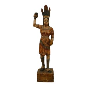 American Country style painted large female Indian figure For Sale