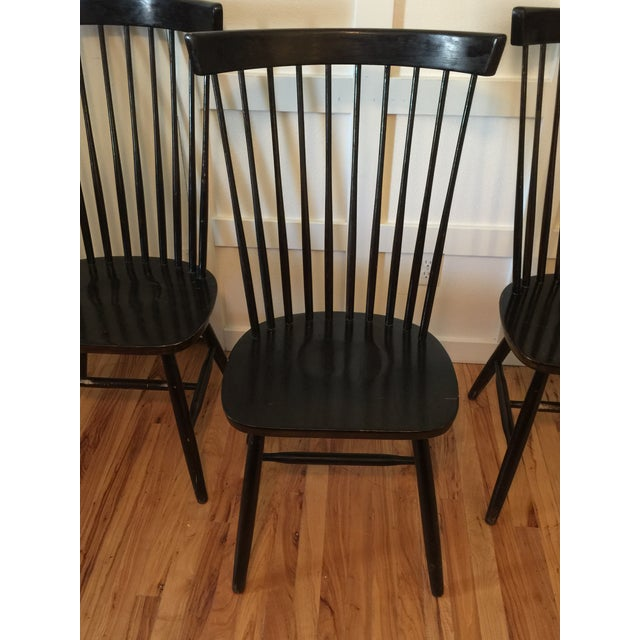 Early American Edmund Spence Style Ebony High Comb Spindle Windsor Chairs - Set of 3 For Sale - Image 3 of 13