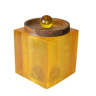 Solid Acrylic Cork & Wood Ice Bucket For Sale