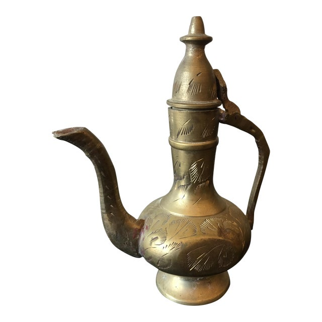 Mid-20th Century Islamic Hinged Lidded Etched Brass Pitcher For Sale