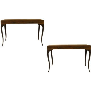 Contemporary Melange 2 Drawer Console Tables - a Pair