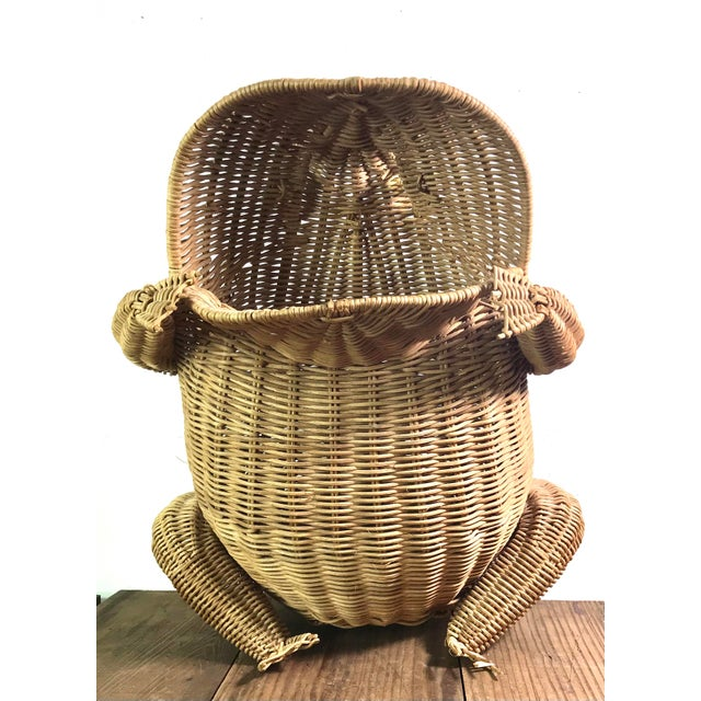 Mario Lopez Torres 1970s Mid Century Wicker Frog Basket With Glass Marble Eyes For Sale - Image 4 of 9