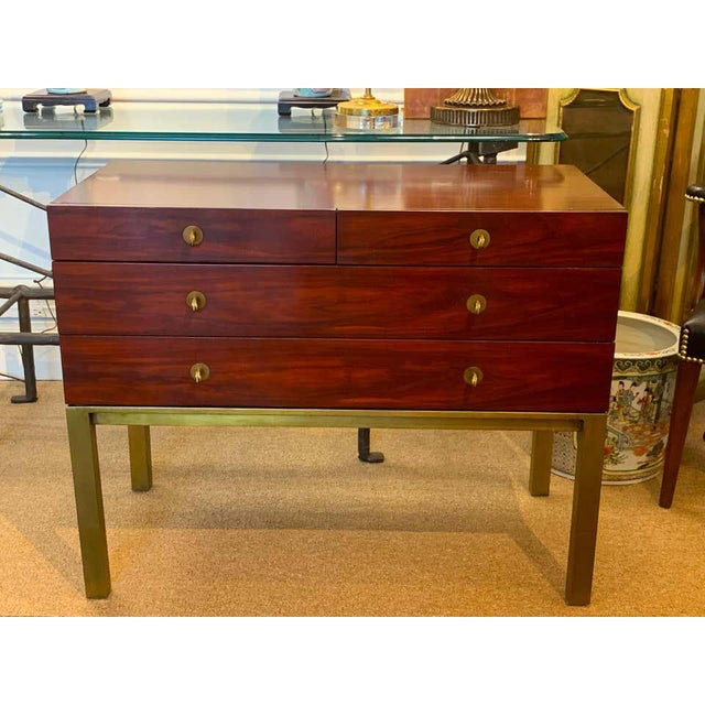 Metal Modern Mahogany and Bronze Chest, by Henredon For Sale - Image 7 of 8
