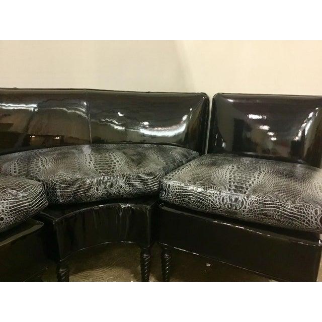 Leathercraft Leathercraft Embossed Alligator Print Sectional Sofa For Sale - Image 4 of 5