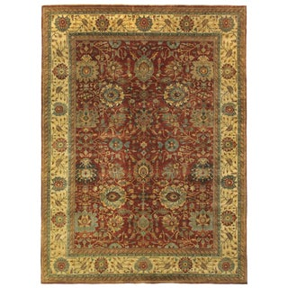 Fine Serapi Hand knotted Wool Rust/Light Gold Rug-12'x15' For Sale