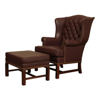 Chippendale Style Tufted Leather Wing Chair with Ottoman - a Pair For Sale