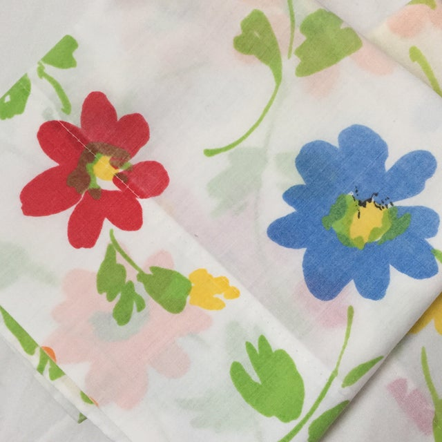 Vintage Floral Block Stamp Queen Pillow Cases - A Pair - Image 3 of 5