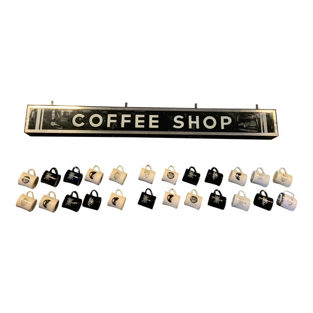 1950's Vintage Illuminating Coffee Shop Sign For Sale