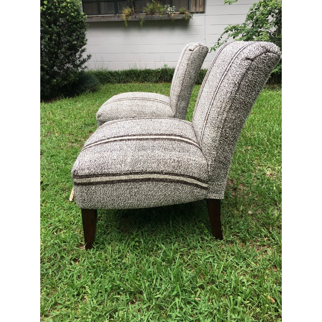 Contemporary Pair of Upholstered Slipper Chairs For Sale - Image 3 of 9