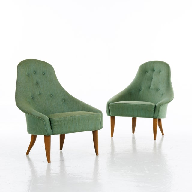 A pair of Kerstin Horlin Holmqvist (Holmquist) Lilla Eva armchairs for Nordiska Kompaniet (NK), Sweden, 1950s. Original...