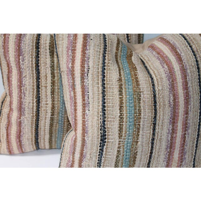 Country 19th Century Country Rag Rug Pillows or Pair For Sale - Image 3 of 4