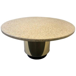 Capiz Shell and Brass Dining Table by Arthur Elrod For Sale