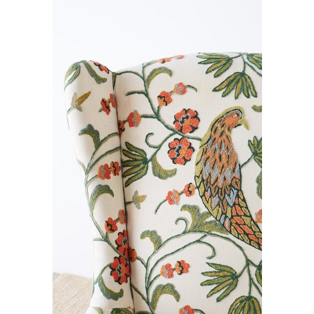 Pair of English Style Crewel Work Wing Chairs For Sale - Image 10 of 13