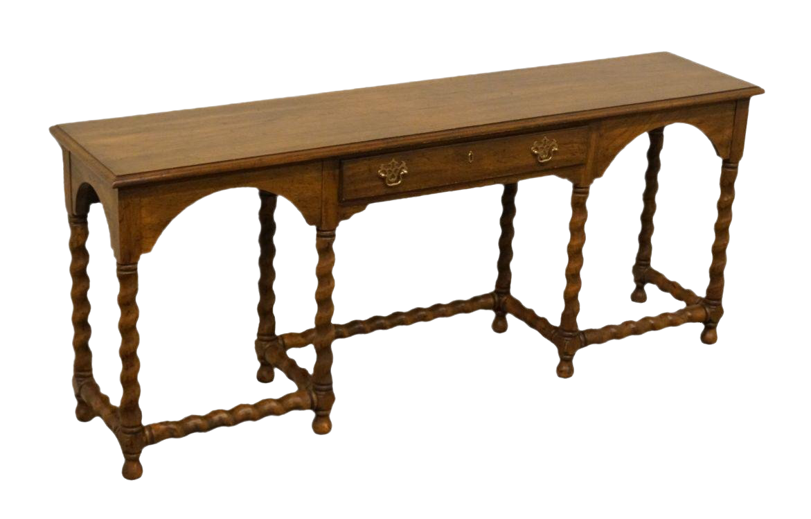 Vintage sofa table Entryway Late 20th Century Vintage Heritage Solid Fruitwood Sofa Table Wayfair Gently Used Heritage Furniture Up To 50 Off At Chairish