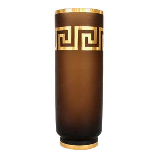 Czech Amber Glass Vase Gold Luster Greek Key Motif Decoration For Sale