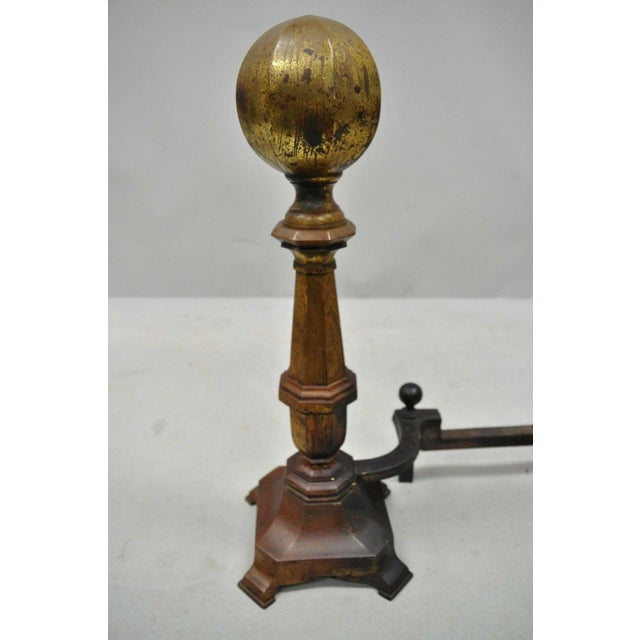 19th Century American Federal Brass Cannonball Andirons - a Pair For Sale - Image 4 of 9