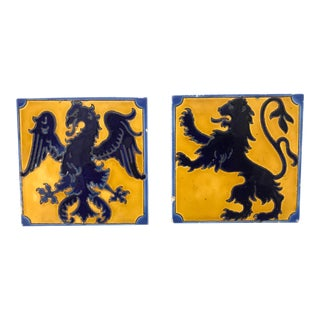 Arts and Crafts Griffen & Gargoyle Tiles - Set of 2 For Sale