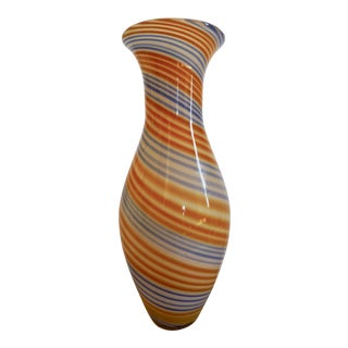Mid Century Cased Orange & Blue Swirl Glass Vase
