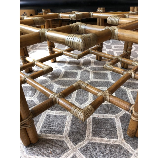 Boho Chic 1990s Boho Chic McGuire Round Rattan Coffee Table With Glass Top For Sale - Image 3 of 11