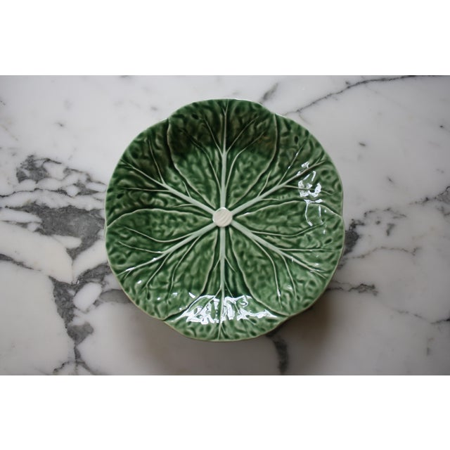 Set of 4 Bordallo Pinheiro Green & White Majolica Style Cabbage Salad Plates For Sale - Image 9 of 10
