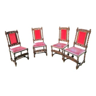 Vintage Carved Oak Chairs - Set of 4 For Sale