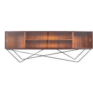 1960s Architectural Danish Low Profile Rosewood Bookcase For Sale