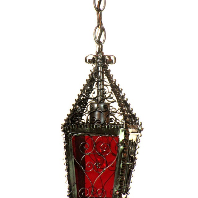 Islamic Small Moorish Lantern with Red Glass Handmade For Sale - Image 3 of 6