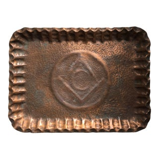 Antique Arts & Crafts Movement Artisan Hammered Copper Tray Masonic For Sale