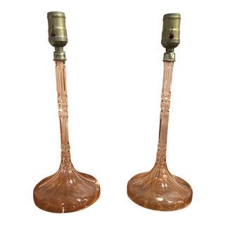 Glass Column Lamps, a Pair