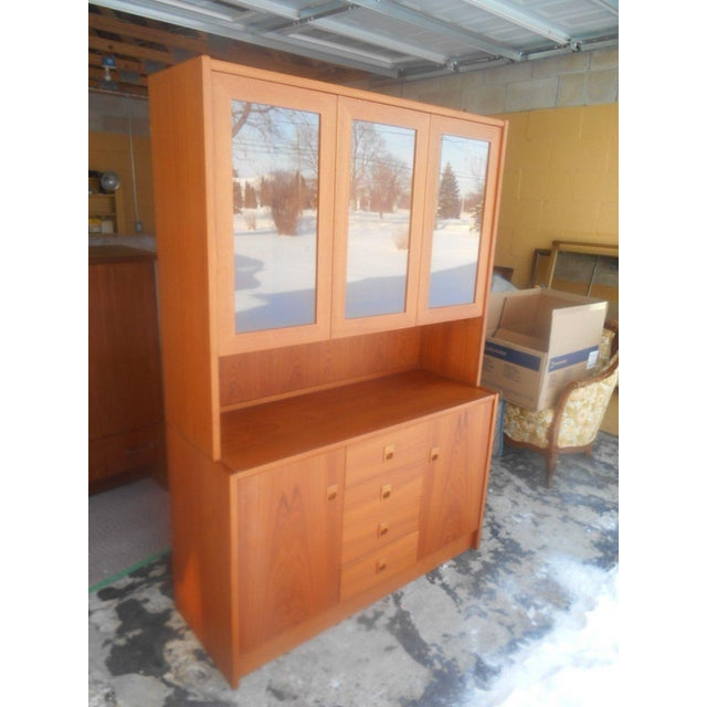 Danish Modern Mid-Century Danish Modern Two Piece China Display Cabinet For Sale - Image 3 of 10