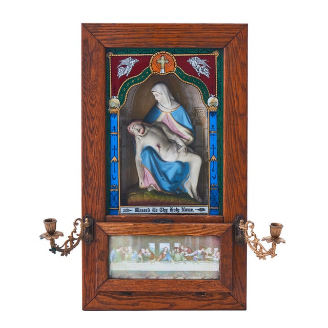 Metal 20th Century Last Rites Shadowbox Viaticum With Statue of La Pieta For Sale - Image 7 of 7